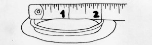 Sketch of a measuring tape on top of the flange on the wafer of a stoma support system